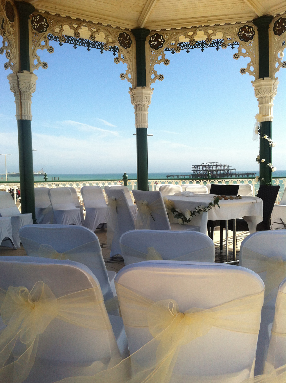 Beautiful setting for wedding on Brighton Bandstand